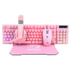 Combo Marvo Scorpion Cm370 Rosa 4 Em 1 Gaming